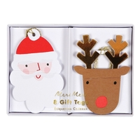 8 étiquettes cadeau père Noel et renne