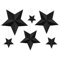 Kit création 6 étoiles 3D en papier noir