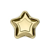 6 assiettes dessert étoile en carton doré