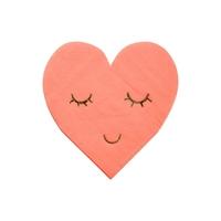 16 serviettes papier coeur sourire
