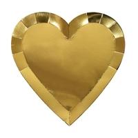 8 assiettes dessert coeur doré