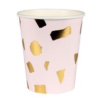 8 gobelets carton terrazzo rose doré