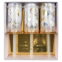 3 canons à confettis blanc doré argenté