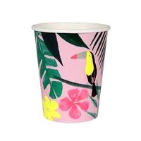 12 gobelets carton imprimé tropical