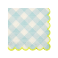20 petites serviettes vichy bleu