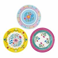 12 assiettes fleurs boho