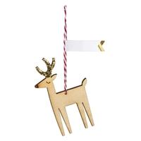 8 étiquettes cadeau renne en bois