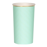 8 grands gobelets en carton vert menthe