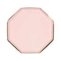 8 assiettes dessert carton rose blush et doré