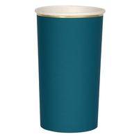 8 grands gobelets en carton bleu canard