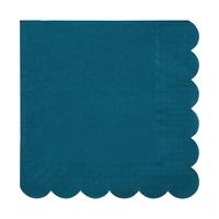 20 serviettes en papier bleu canard