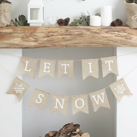 Guirlande Let it snow en toile de jute