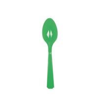 10 petites cuillères en plastique vert foncé