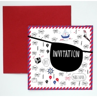 8 cartes d'invitation anniversaire pirate