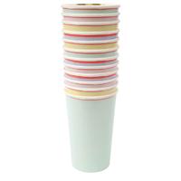 12 gobelets carton pastel et fluo