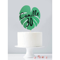 Cake topper personnalisé feuille tropicale