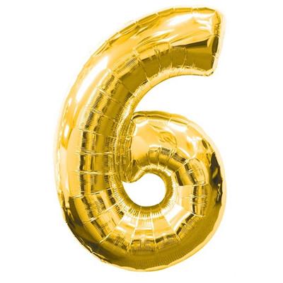 Ballon chiffre 0 à 9 en aluminium doré