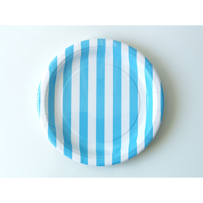 assiette-jetable-raye-bleu-clair