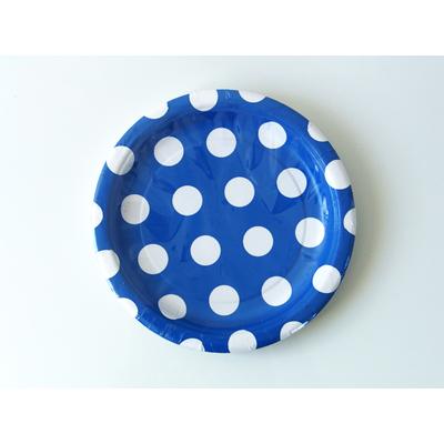 assiette-jetable-bleu-marine-a-pois