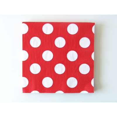 serviette-jetable-rouge-a-pois