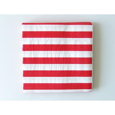 serviette-jetable-papier-raye-rouge