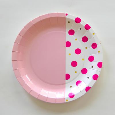 assiette-jetable-rose-bicolore