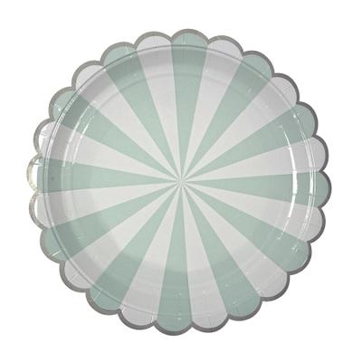 assiette-carton-rayures-vert-menthe-meri-meri