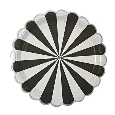 assiette-carton-rayure-noir-meri-meri