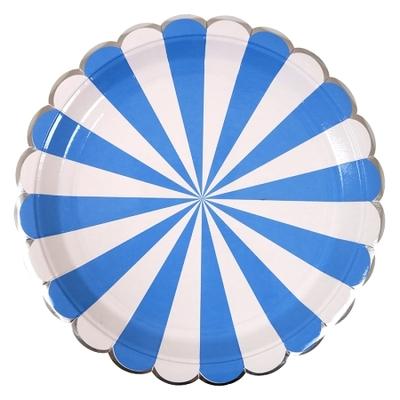 assiette-jetable-carton-qualite-rayures-bleu-meri-meri