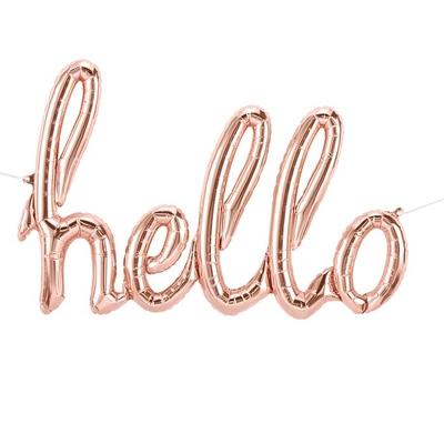 ballon-hello-lettres-cursives-en aluminium-rose-dore-northstarballoons