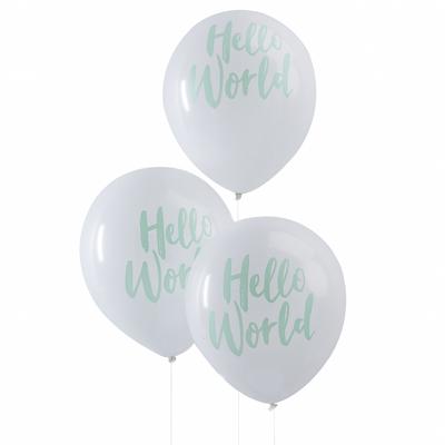 ballon-de-baudruche-en-latex-blanc-et-vert-menthe-hello-world-baby-shower-ginger-ray