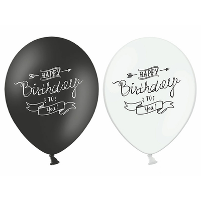 ballon de baudruche happy birthday to you latex noir et blanc achat. Black Bedroom Furniture Sets. Home Design Ideas