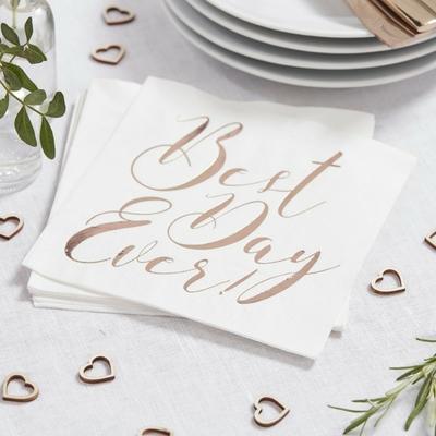 serviette jetable mariage best day ever blanc et rose gold achat. Black Bedroom Furniture Sets. Home Design Ideas