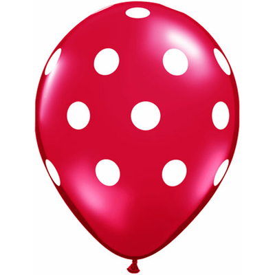 Ballons rouge à gros pois blanc