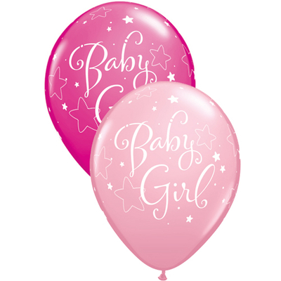 Ballons baby shower fille rose