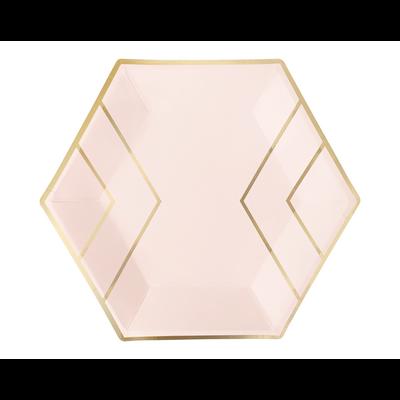 assiette-jetable-carton-rose-pastel-et-dore-forme-hexagonale-chic-et-moderne-paperboy