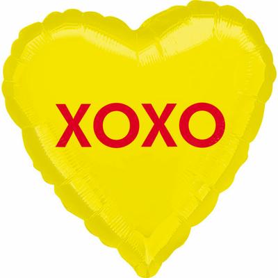 ballon-mylar-coeur-jaune-xoxo