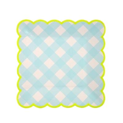 assiette-jetable-vichy-bleu-forme-carree-meri-meri
