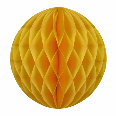 boule-papier-alveole-jaune-moutarde-decoration-fete