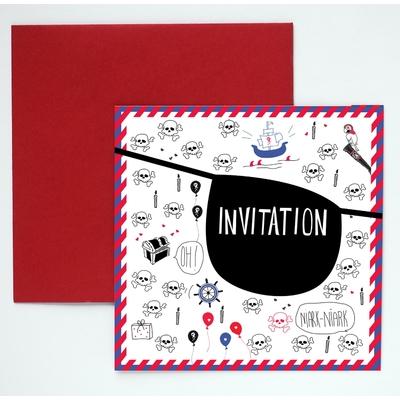 8 cartes d'invitation anniversaire pirate