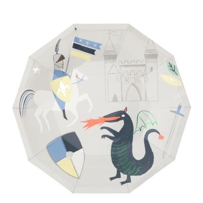 assiette-anniversaire-chevalier-et-dragon-vaisselle-jetable-en-carton-meri-meri