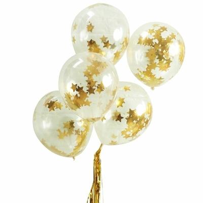 5 ballons confettis étoiles dorées