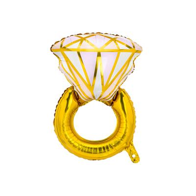 Ballon mylar bague de fiançailles rose et dorée