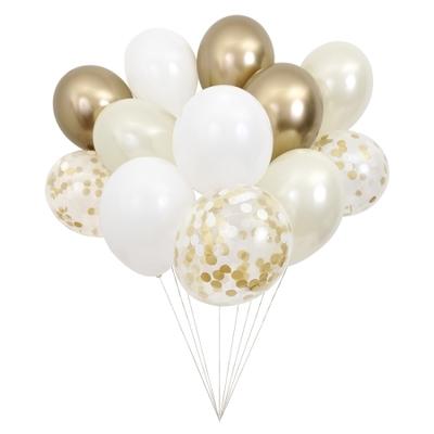 12 ballons de baudruche assortiment doré
