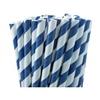25 pailles rétro à rayures bleu marine