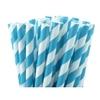 25 pailles papier à rayures turquoise