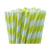 25 pailles papier à rayures jaunes