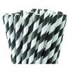 25 pailles rétro à rayures noires