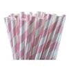 25 pailles papier à rayures rose clair