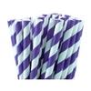 25 pailles rayées en papier violet